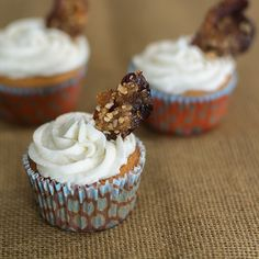 Beer batter cupcakes topped with maple buttercream and cayenne bacon | Kailley's Kitchen