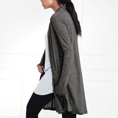 Jersey Shawl Neck Cardigan - Dark Charcoal Marl  from The White Company