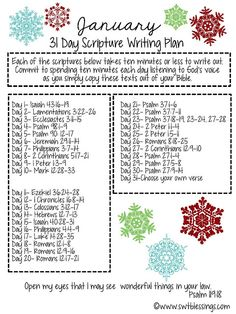 Sweet Blessings: January Scripture Writing Plan by ashleyw January Scripture Writing, Scripture Reading, Scripture Study, Daily Scripture, Scripture Memorization, The Plan, How To Plan, Bible Scriptures, Bible Quotes