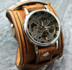 c2648f8c7c4 Brown leather watch cuff with skeleton watch