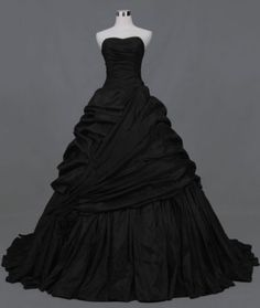 Gothic-Black-Colored-Wedding-Dresses-Taffeta-Prom-Formal-Quinceanera-Gown-Custom