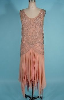 c. 1928/1929 Pink Silk Chiffon Flapper Dress with Silver Beads