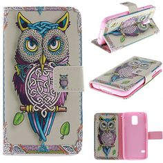 persoonallisuus pöllöt pattern PU nahka koko kehon tapauksessa korttipaikka ja seistä samsung s5 i9600 – EUR € 10.99