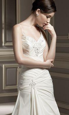 Beads Working Spaghetti Straps Embroider  Wedding Dress