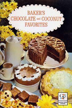 Vintage Advertising Cookbook 1960s BAKER'S CHOCOLATE COCONUT Mid Century Recipes Book