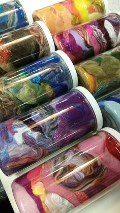 Jar of Inspiration - 4oz. of color-coordinated fibers for $15.99, by Mielke's Fiber Arts on Etsy