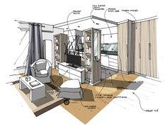 Cuisine ouverte sur salon. Croquis Dominique JEAN - Architecture Intérieure.