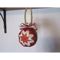 This beautiful handcrafted quilted ornament is designed with the traditional star. I used red, white and gold Christmas fabric. Handcrafted Christmas Ornaments, Quilted Ornaments, Fabric Ornaments, Ball Ornaments, Christmas Fabric, Gold Christmas, Glass Ball, Gemstones, Holiday Decor