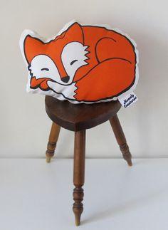 Cute baby fox shaped orange whimsical woodland cushion / pillow