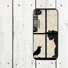 Black Cat in the Window Cell Phone Case - iPhone 4,4s Case - iPhone 5 Case - Gifts Under 25