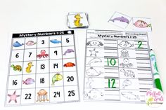 Mystery Numbers 1-100: Counting to 100 with fun hands-on math centers for Kindergarten! Teach skip counting by tens, number order, number recognition and more!