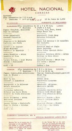 MENU HOTEL NACIONAL CARACAS - 10 JUNIO 1950