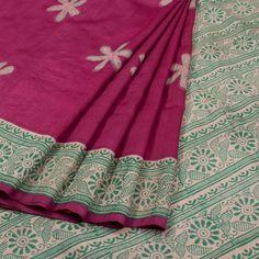 Hand Block Printed Tussar Silk Saree With Kantha Embroidery 10020036 - AVISHYA.COM