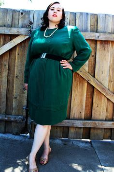 Plus Size  Vintage Silk Emerald Pleated Dress Size by TheCurvyElle, $45.00