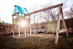 Tracy's Trinkets and Treasures: Project 52 Week 2 Made with Love Backyard Swing Sets, Diy Swing, Backyard Playhouse, Kids Outdoor Play, Outdoor Fun, Indoor Play, Backyard Projects, Outdoor Projects, Fresco