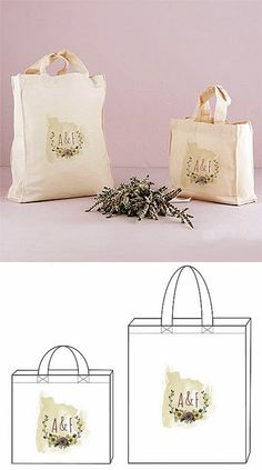 """""""Natural Charm"""" Design Personalized Tote Bags (Set of 8)"""