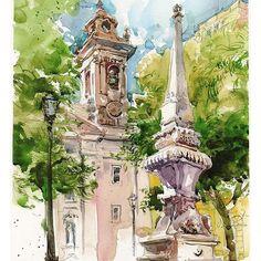 Watercolor sketch of Lisbon by Marc Holmes #sketchcollector Sketch art watercolor draw drawing