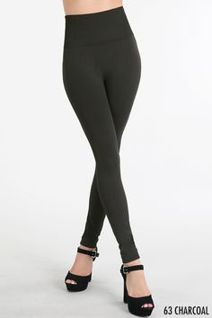 These high-waist leggings are a HUGE hit with everyone! Now available in charcoal! Perfect the the holidays...they fit wonderfully and they aren't see-thru!