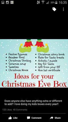 Box of Christmas Eve . - Christmas Tips for 2020 Christmas Eve Box For Kids, Xmas Eve Boxes, Christmas Eve Box Fillers, Christmas Games, Christmas Activities, Diy Christmas Gifts, Family Christmas, Winter Christmas, Holiday Fun