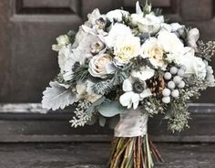 """White and grey winter wedding bouquet -  """"#Weddingbee for #TheLab2013: http://ht.ly/cYt6T"""""""