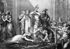 the execution of the king's mother Marie Stuart, Queen of Scots.(engraving)