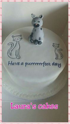 Cats looking into pond 80th birthday cake Laura s cakes