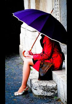Switch. Purple coat red umbrella instead? I think I shall. Loving this.