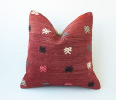 Vintage Decorative Kilim Throw Pillow 16'' x by TurkishCraftsArts, $57.00
