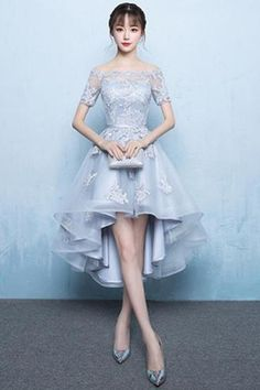 A-Line Off Shoulder Long Tail Homecoming Dress With Appliques-NBAdress