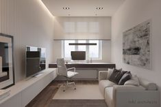 Intelligence: A Modern Apartment with An Open Space Concept Design Office Interior Design, Office Interiors, Home Interior, Home Office Setup, Guest Room Office, Modern Home Offices, Small Space Office, Building A House, Room Decor