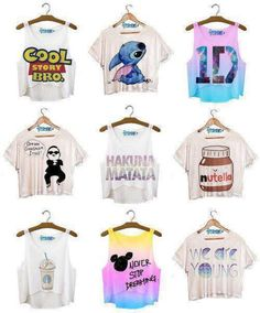 shirt crop tops disney quote on it cute blouse jumpsuit underwear cute outfits tank top lilo and stitch toy story psy gangnam style t-shirt clothes half crop top flowy Cropped Tops, Cute Crop Tops, Half Shirts, Buy Shirts, Tank Top Outfits, Cool Story Bro, Disney Quote Shirts, Disney Quotes, Disney Tees