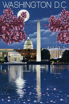 Washington, DC - Night Scene - Lantern Press Poster