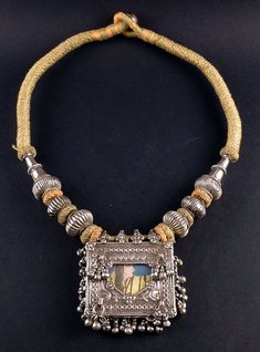 Rajasthan silver old amulet necklace - india