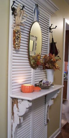 Maybe this for my kitchen makeover.......Uses For Shutters - repurposed shutters
