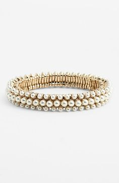 Anne Klein 'Elysium II' Faux Pearl Stretch Bracelet available at #Nordstrom? $34