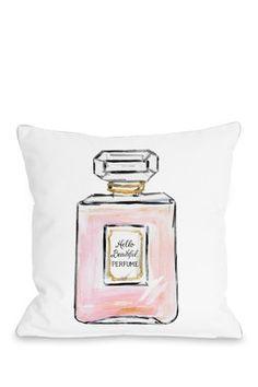 Hello Beautiful Perfumes Pillow - White/Pink/Gold