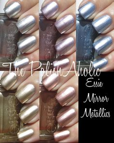 Essie Mirror Metallics Collection: No Place Like Chrome, Nothing Else Metals, Blue Rhapsody, Good as Good, and Penny Talk