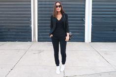 aimee_song_black_blazer_black_tee_black_pants_adidas_stan_smith