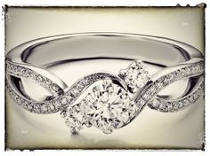 Three Stone Infinity Diamond Engagement Ring