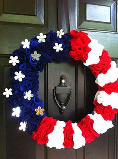 Let's Get Crafty! » 4th Of July Ruffled Wreath With Pool Noodle & Mirrors!