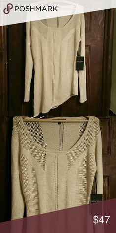 LOVE STITCH ANGORA&WOOL ASYMMETRICAL SWEATER.NWT! Pretty&soft ~oatmeal color with open neck and various types of stitching . Lovely! Love Stitch Sweaters Crew & Scoop Necks