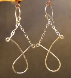 Nouveau 15 Hammered twisted shapes on chain by CalicoJunoJewelry