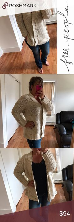 """🅾️ Free People Sweater / Size Large I'm in love with this but am willing to bless another closet. This would fit someone who wears a large or XL (I am 5' 8"""", size 14/16 and am modeling it.) Is so cute with leggings and booties or boots. 😍 99% cotton, 1% nylon. And wash cold, lay flat to dry. Free People Sweaters"""