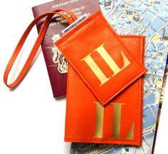 Travel accessory gift: Bambina di Cioccolato's personalized leather passport cover and luggage tag set. Destination wedding, bridesmaid gift.