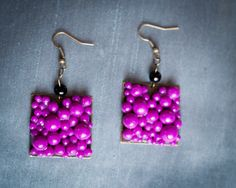 Handmade Polymer Clay Bright Purple Beaded Earrings by JenniferAnnFineArt, $25.00