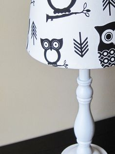 Black And White Hootie Owl Lamp OOAK