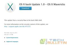 Apple releases Bash Patch for the Shell shock bug in Mac OS X | http://www.thetechbulletin.com/apple-releases-bash-patch-shell-shock-bug-mac-os-x-13464/