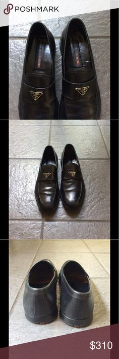Prada men's black triangle logo loafers size 8 eur Gently worn men's Prada loafers. The shoes are in great condition. My husband wears a size 9 in US and these fit him great. Prada Shoes Loafers & Slip-Ons