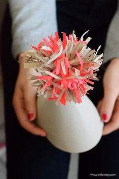 Make Wrapping Paper Pompoms | a beautiful recycle project | willowday