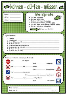 Modalverben German Grammar, German Words, Number Worksheets, School Worksheets, Learn German, Learn French, French Lessons, Spanish Lessons, Teaching French